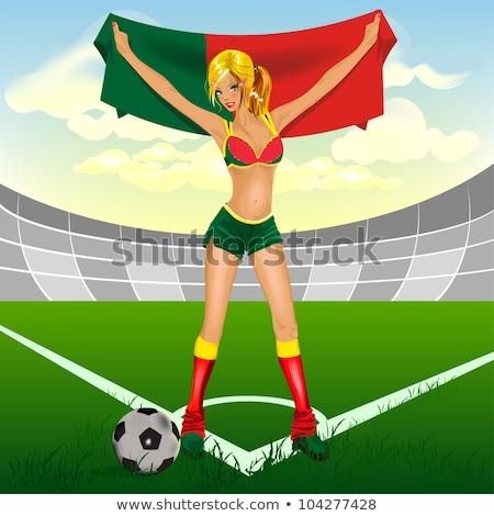 podniecony · piłka · nożna · fan · banderą · sportu · piłka · nożna - zdjęcia stock © pedromonteiro