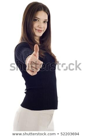 genç · kadın · parmak · yanlış · gülümseme · mavi - stok fotoğraf © feedough