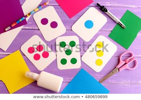 iskolás · lány · házi · feladat · toll · ír · lefelé · notebook - stock fotó © photography33