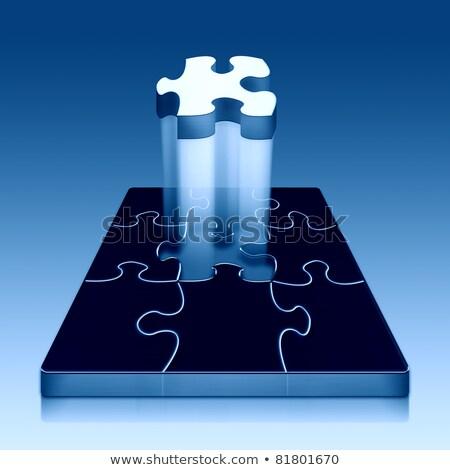 металлический синий головоломки отсутствующий кусок окончательный Сток-фото © macropixel