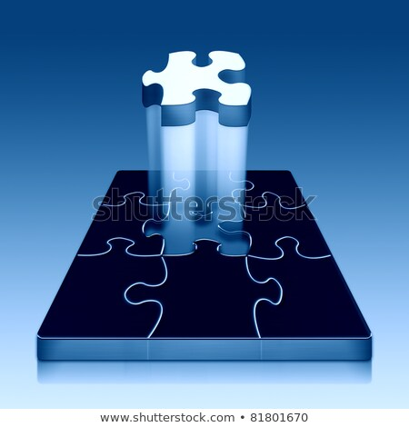 metálico · quebra-cabeça · peça · isolado · branco · 3D - foto stock © macropixel