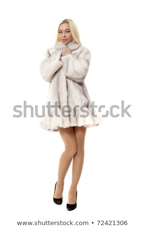 Nice · молодые · блондинка · белый · шуба · портрет - Сток-фото © acidgrey