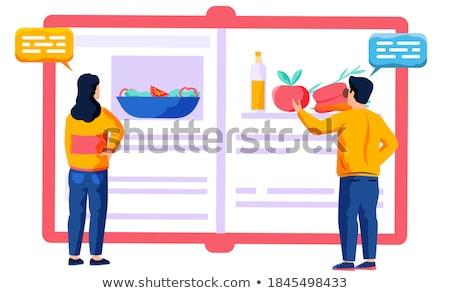 çift bakıyor yemek kitabı adam mutlu mutfak Stok fotoğraf © photography33