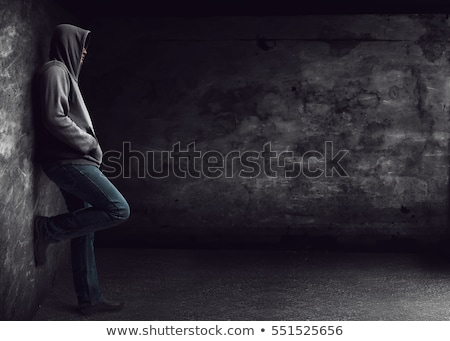 Férfi dől lezser fiatalember előre gyanús Stock fotó © feedough