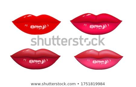 Foto stock: Humanismo · beijo · lábios · batom · vermelho