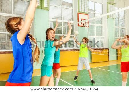 十代の少女 ボレー ボール 笑い 外に 騒々しい ストックフォト © DonLand