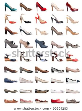 Vrouwelijke geïsoleerd witte Rood schoen meisje Stockfoto © photobac