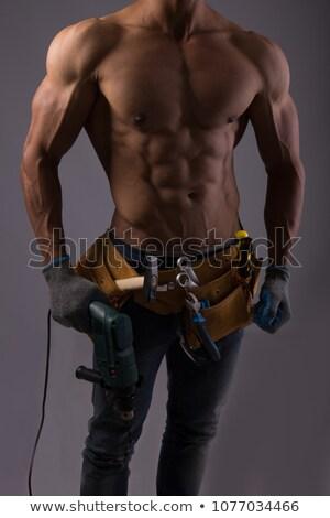 topless · homem · mãos · moço · posando · olhando - foto stock © feedough