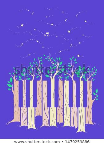 Plant pianotoetsen wolken milieu buitenshuis horizontaal Stockfoto © zzve