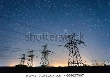 Elektromosság torony energia gyönyörű tájkép építkezés Stock fotó © meinzahn