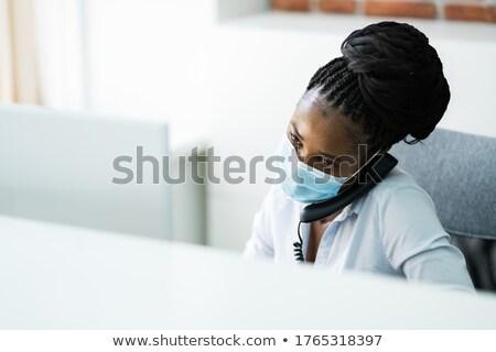 ajan · genç · güzel · kadın · telefon - stok fotoğraf © stockyimages