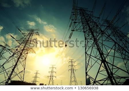 elektriciteit · hoogspanning · transformator · blauwe · hemel · hemel · technologie - stockfoto © meinzahn