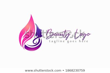 Twarz pozostawia logo damska usług kobieta Zdjęcia stock © shawlinmohd