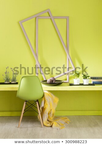 Stok fotoğraf: Interior Design Modern Purple Chair On Orange Wall