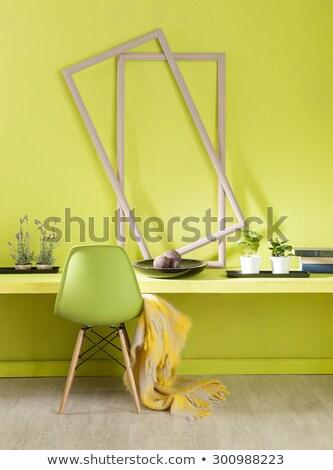 Foto d'archivio: Interior · design · moderno · viola · sedia · arancione · muro