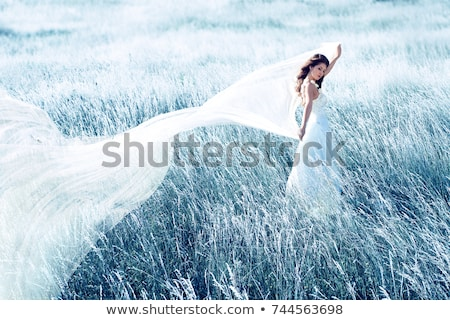 Stock photo: Beautiful bride dancing with veil. Toned in blue