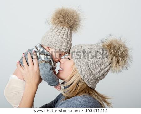 Stockfoto: Winter · baby · cute · jongen · buiten · mand
