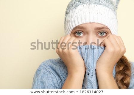 portre · kadın · duygu · soğuk · dişler · Kayak - stok fotoğraf © bmonteny