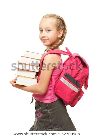 gelukkig · weinig · schoolmeisje · zwaar · boeken - stockfoto © nejron