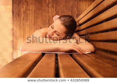 Csinos nő szauna nők egészség fiatal fürdő Stock fotó © Geribody