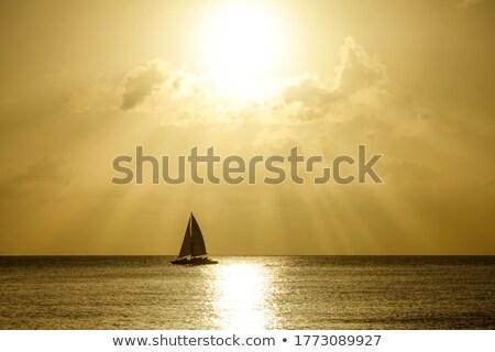 Yelkenli yelkencilik sabah mavi bulutlu gökyüzü Stok fotoğraf © papa1266