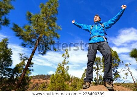 Hiking man reaching summit top cheering in forest Stock photo © Maridav