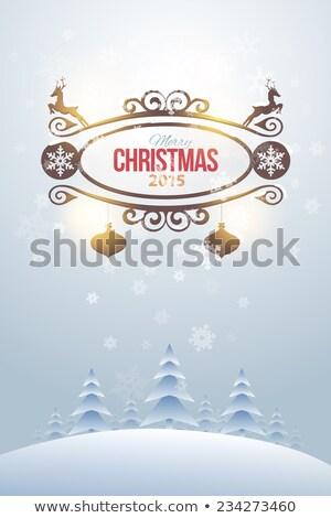Cute Natale 2015 biglietto d'auguri albero di natale capodanno Foto d'archivio © marimorena