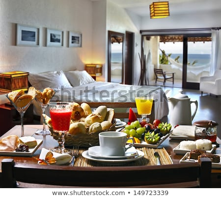 Business Travel Hotel Room with Breakfast in Bed Stock photo © ozgur
