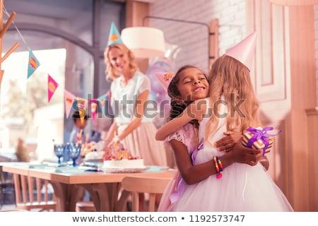 Buli család kislányok születésnap díszített rózsaszín Stock fotó © dash