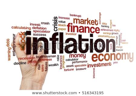 Foto stock: Inflação · palavra · eletrônico · calculadora · fundo · financeiro