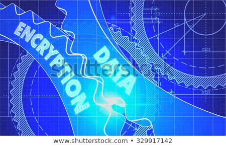 Data Encryption Concept. Blueprint of Gears. Stock photo © tashatuvango