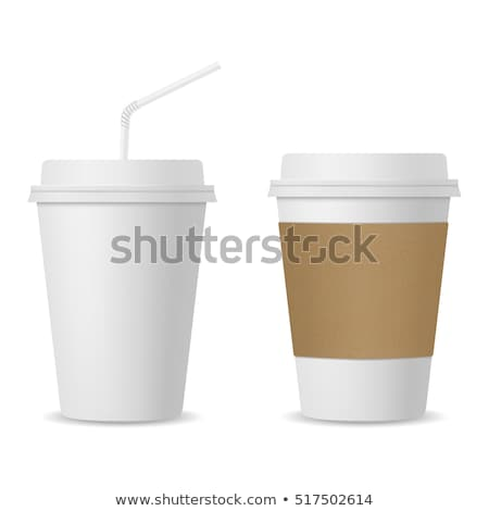 White paper cup and black drinking straw Stock photo © ozaiachin
