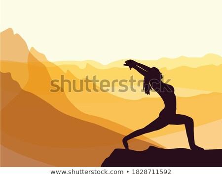 bela · mulher · ioga · montanhas · mulher · verão · pernas - foto stock © Paha_L