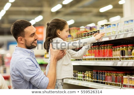 Stock photo: father with children in shop