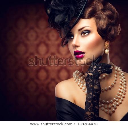 美人 着用 帽子 ベール 黒 装飾された ストックフォト © jrstock