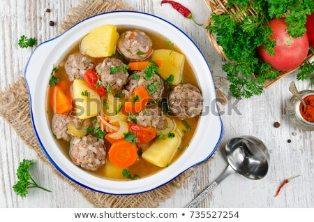 Nutritious meatball soup with vegetables Stock photo © ozgur