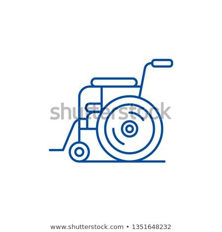 man sitting on dental chair line icon stock photo © rastudio