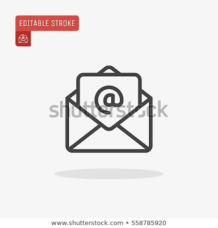 szett · ikonok · email · fehér · térkép · körvonalak - stock fotó © AlonPerf
