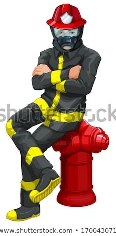 Stockfoto: Brandweerman · vergadering · boven · illustratie · achtergrond · helpen