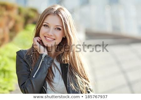 小さな · ブルネット · 美 · ポーズ · 女性 · 音楽 - ストックフォト © konradbak