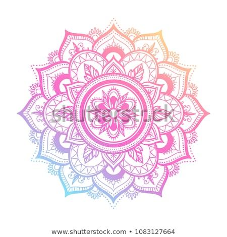 Mandala ontwerp trillend bloem asian Geel Stockfoto © hpkalyani