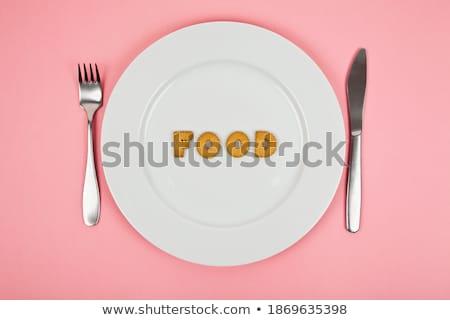 Sok levelek tányér fehér étel iskola Stock fotó © fuzzbones0