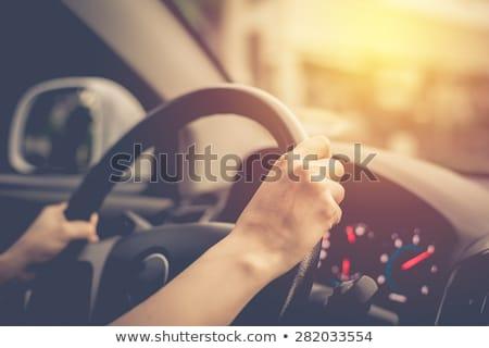 közelkép · kéz · kormánykerék · vezetés · autó · férfi - stock fotó © deandrobot
