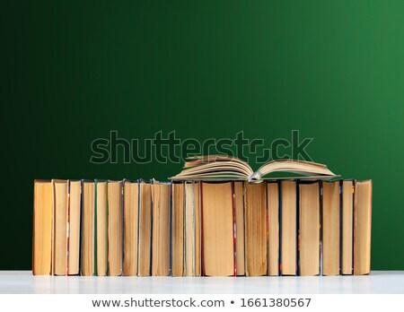 Praca domowa tekst zielone pokładzie grupy ołówki Zdjęcia stock © fuzzbones0