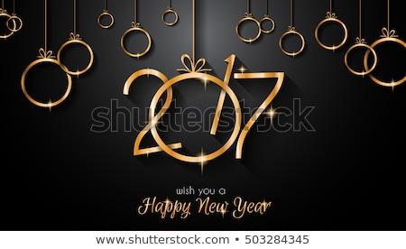 Stok fotoğraf: Happy · new · year · kart · altın · metin