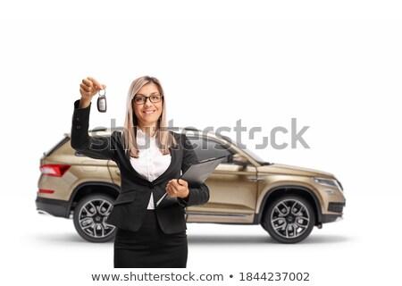 счастливым молодые деловая женщина ключевые буфер обмена Сток-фото © williv