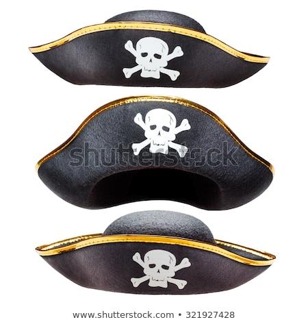 Stockfoto: Piraat · hoed · geïsoleerd · witte · teken · retro