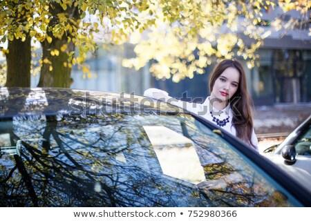 молодые деловой женщины Постоянный автомобилей стоянки портрет Сток-фото © deandrobot