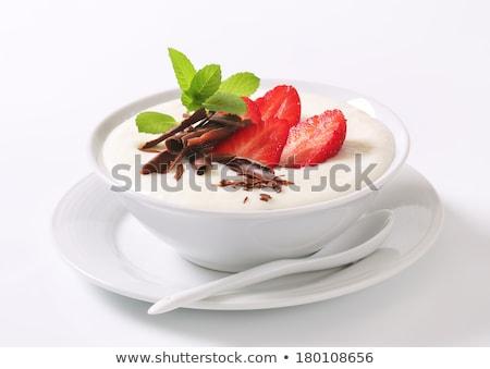 smooth semolina porridge with fresh fruit and chocolate stock photo © digifoodstock