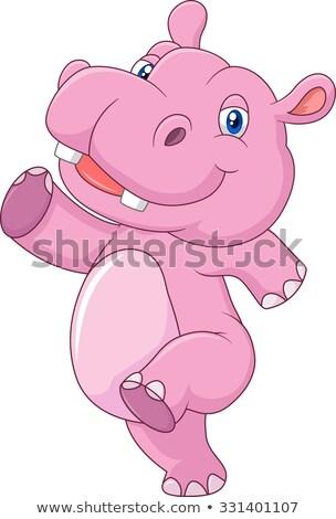 Cute ippopotamo cartoon posa ragazza sorriso Foto d'archivio © jawa123